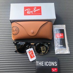 Ray Ban Clubmaster Sunglasses - Black  51mm RB3016